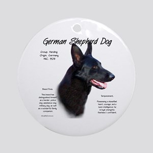 Black GSD Round Ornament